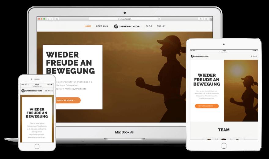 Firmen Website einfach erstellen - Arzt Website erstellen mit dem WordPress Theme Geckos Health