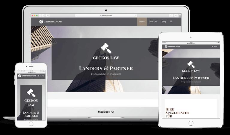 Firmen Website einfach erstellen - Rechtsanwalt Website erstellen mit dem WordPress Theme Geckos Law