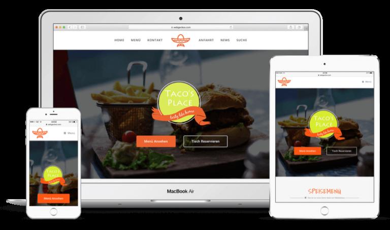 Unternehmenswebsite erstellen - Restaurant Website erstellen mit dem WordPress Theme Geckos Taste